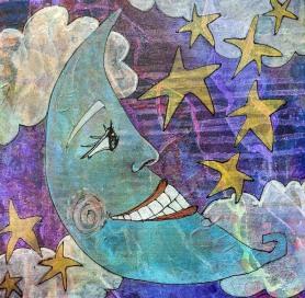 "Smiling Moon. 12""x12"""