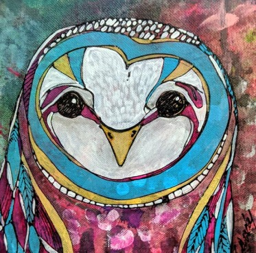 "Trippy the Owl 8""x8"""